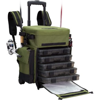 Elkton Outdoors Rolling Fishing Tackle Box X-Large Waterproof Storage Bag Backpack